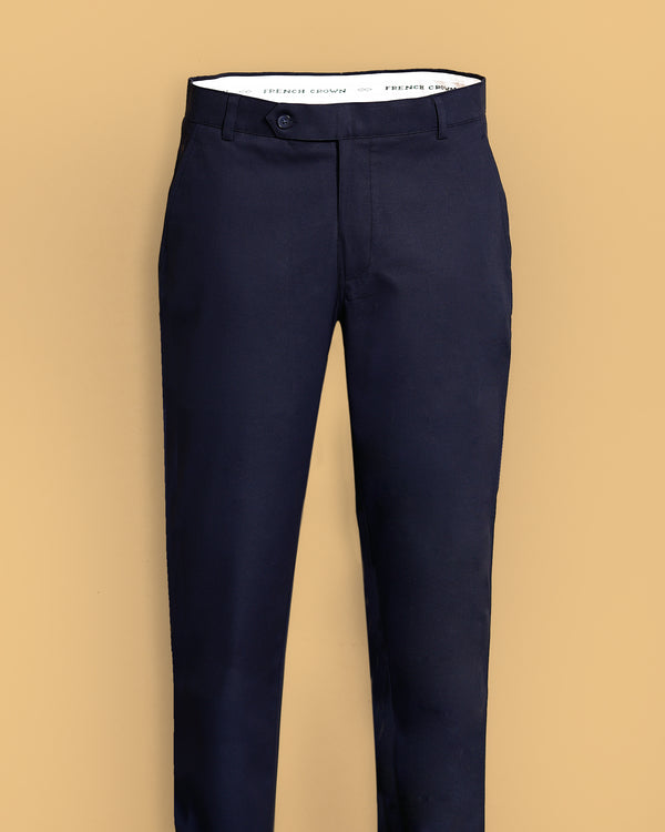 Navy Stretchable Regular fit Cotton Pant