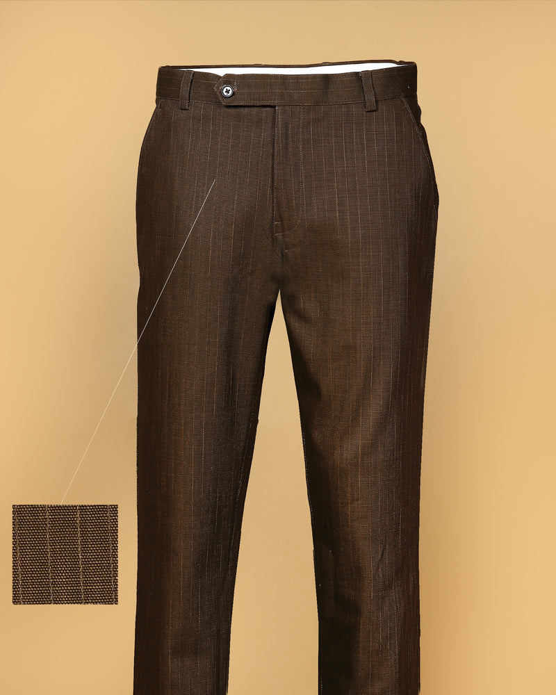 Coffee Striped Regular fit Cotton Pant