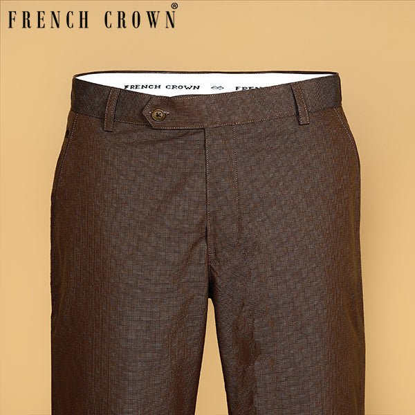 Brown Checked Regular fit Cotton Pant