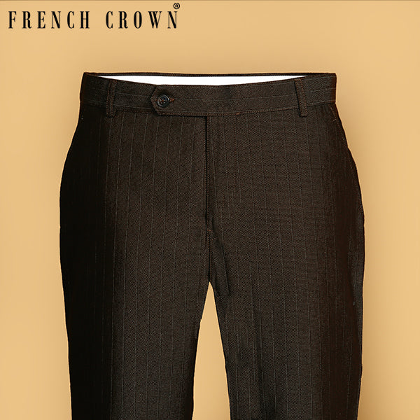 Brown Striped Regular fit Cotton Pant