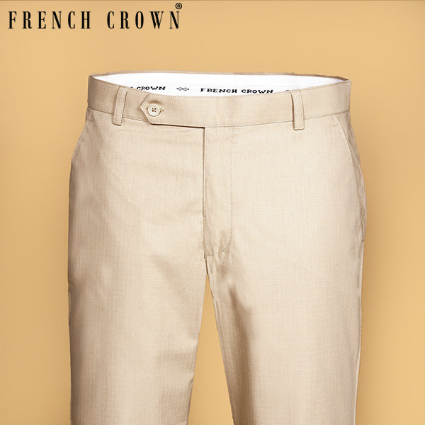 Cream textured Regular fit Cotton Pant