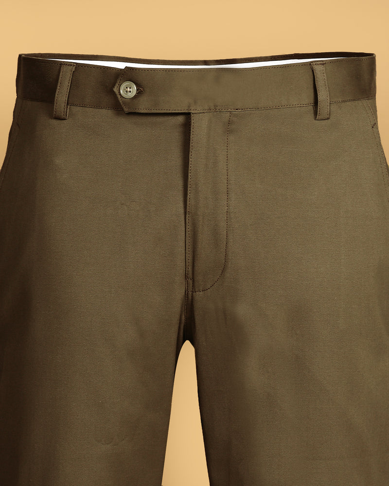 Crocodile green Stretchable Corduroy Chino