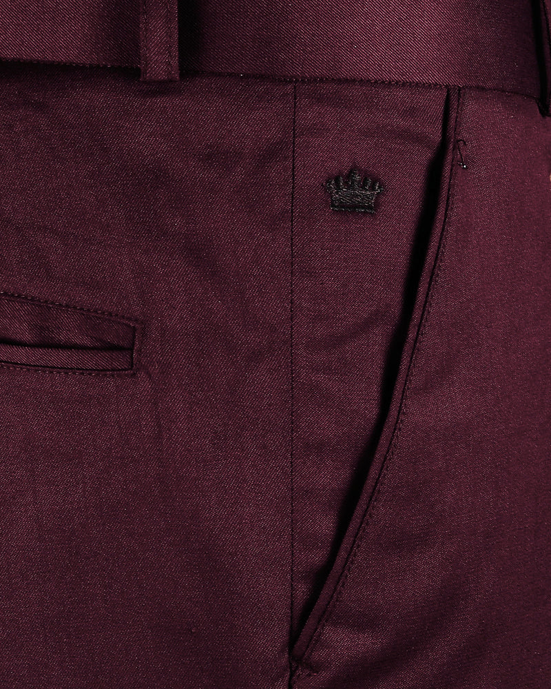 Maroon Regular fit Terry Rayon Formal Pant