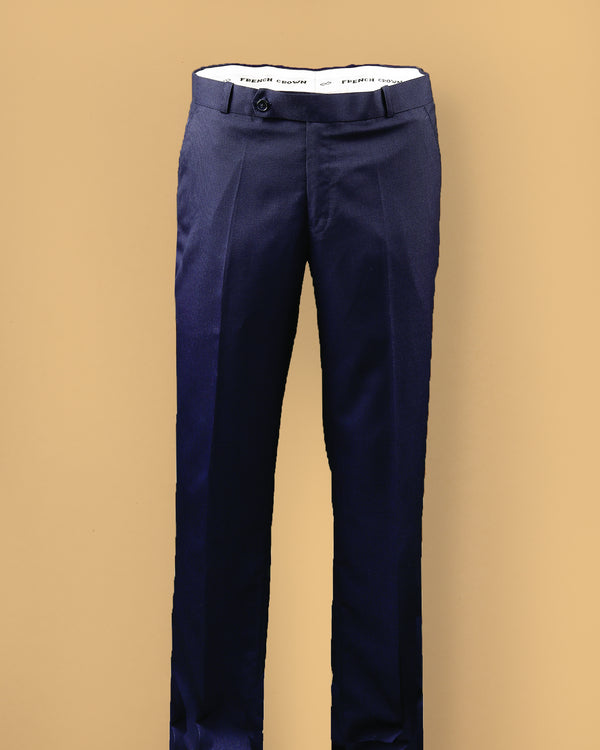 Oxford Blue Micro Checked Tere-Rayon Formal Pant