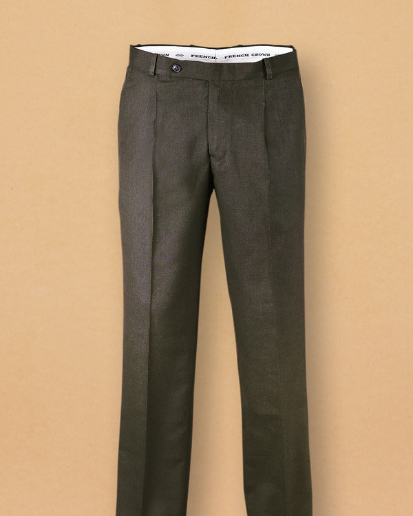 Olive Micro Checked Regular fit Terry Rayon Formal Pant