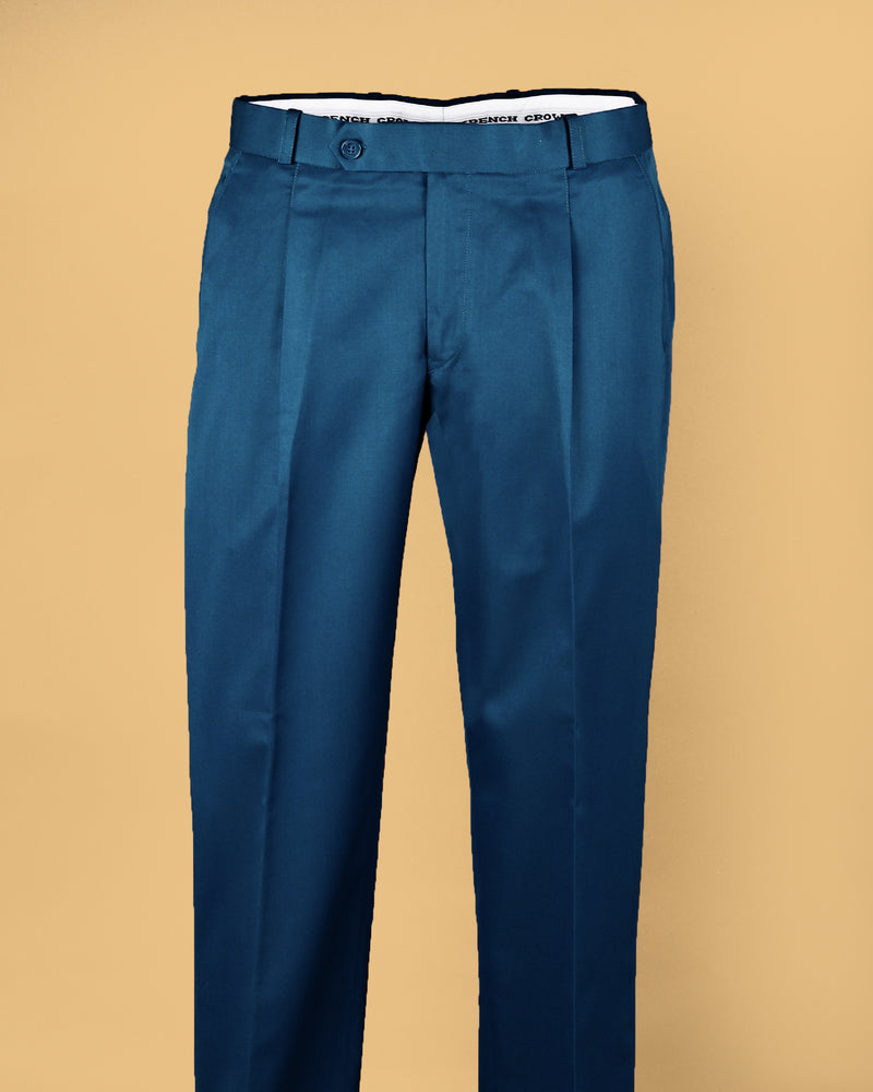Prussian Blue Regular fit Tere-Rayon Formal Pant