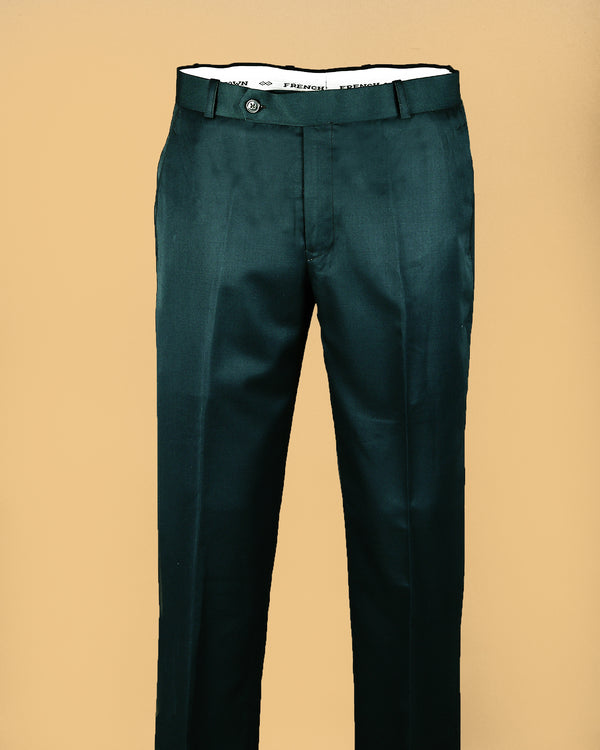 Seaweed Green Regular fit Terry Rayon Formal Pant