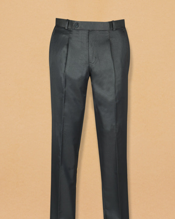 Pebble Grey Terry-Rayon Formal Pant