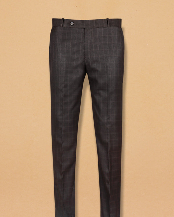 Espresso Windowpane Terry Rayon Formal Pant
