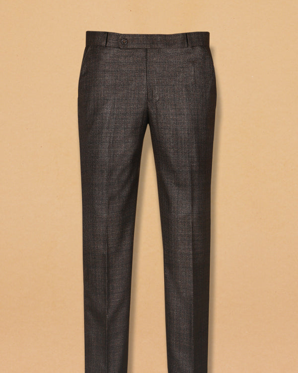 Syrup Brown Subtle Checked Terry-Rayon Formal Pant