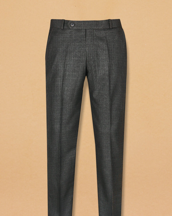 Brownish Grey Subtle Checked Terry-Rayon Formal Pant