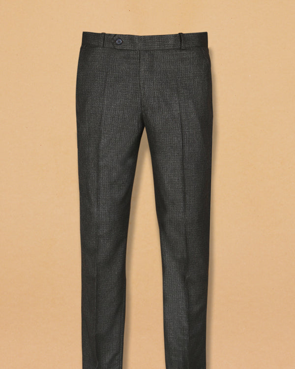 Slate Grey subtle Micro-checked Terry Rayon Formal Pant