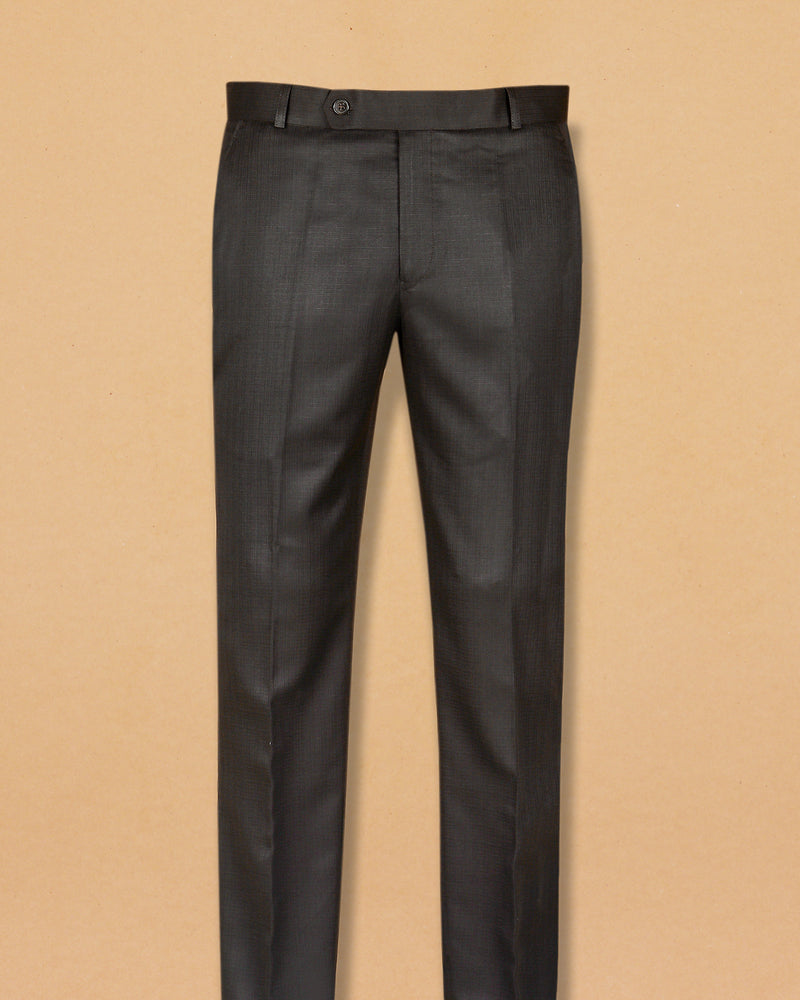 Light Brown Micro Textured Terry Rayon Formal Pant