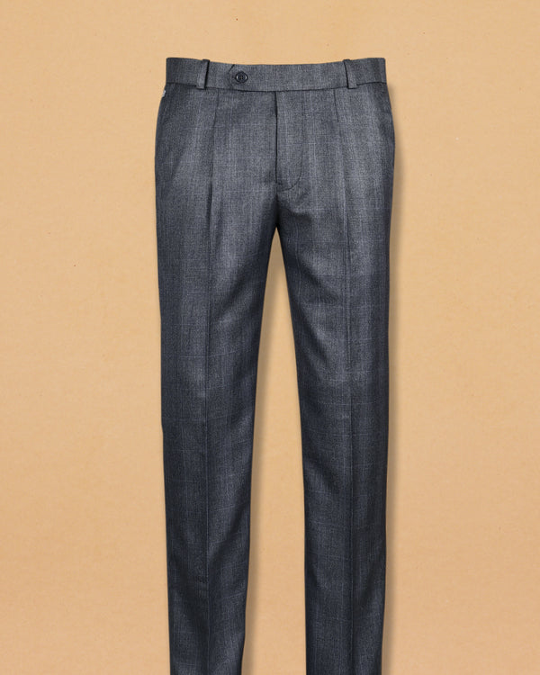 Slate Grey subtle checked Terry Rayon Formal Pant