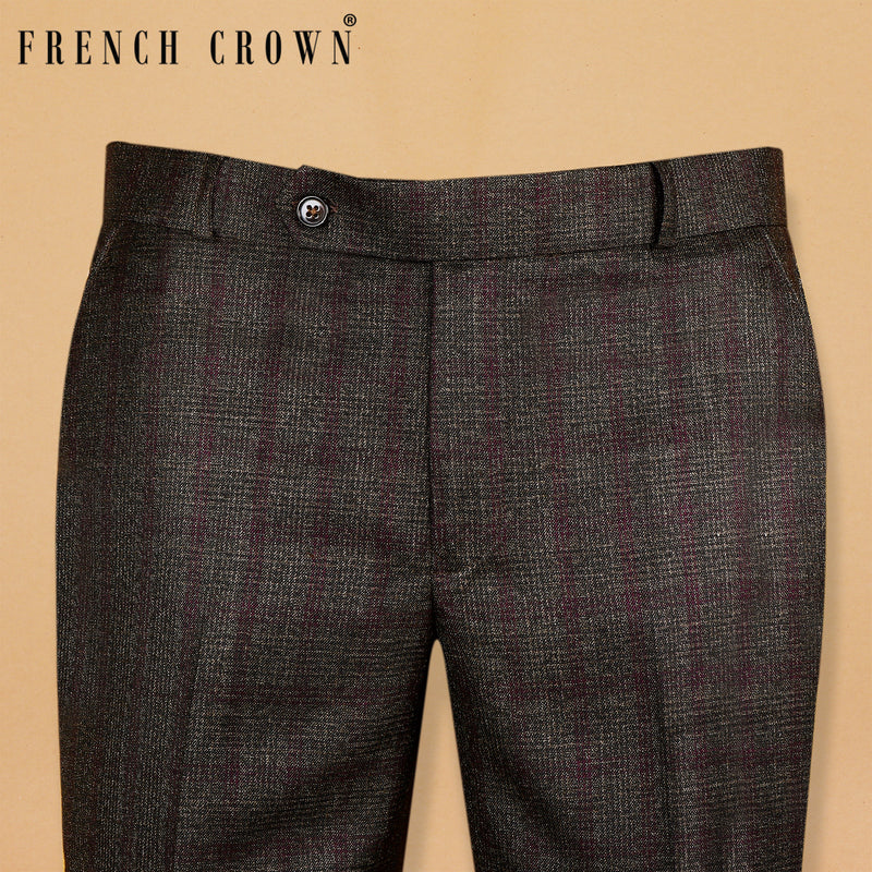 Sepia Brown with Lavender Subtle Checked Terry Rayon Formal Pant
