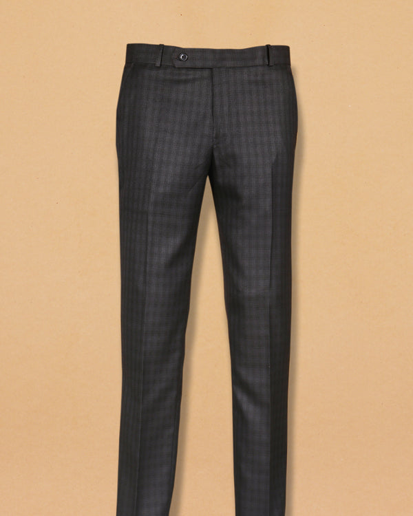 Lead Grey Subtle Checked Terry-Rayon Formal Pant