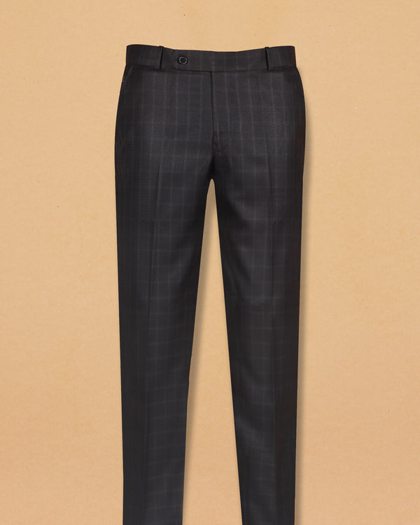 Oil Black Multi-checked Terry Rayon Formal Pant