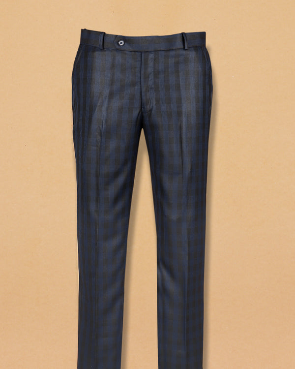 Grey with Blue Micro-striped Formal Pant