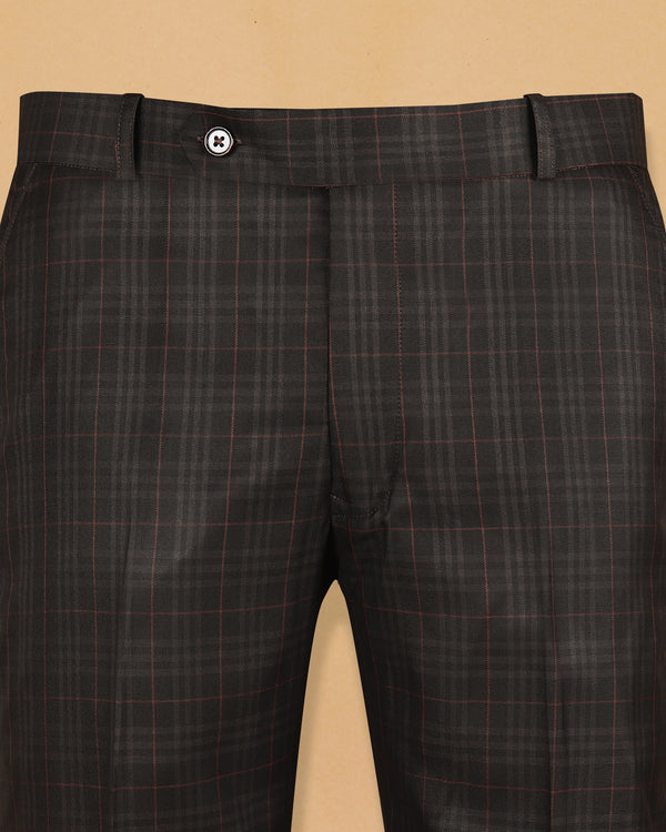 Mocha Brown Checked Terry-Rayon Formal Pant