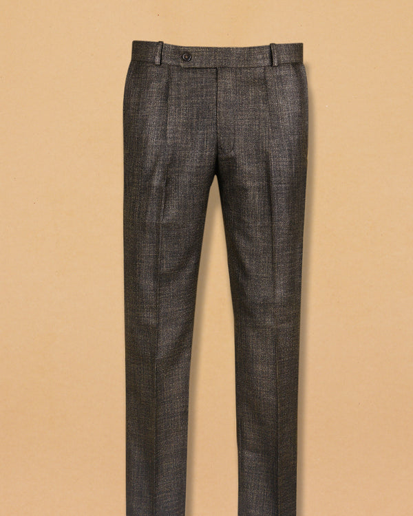 Peanut Brown Slub textured Checked Terry Rayon Formal Pant