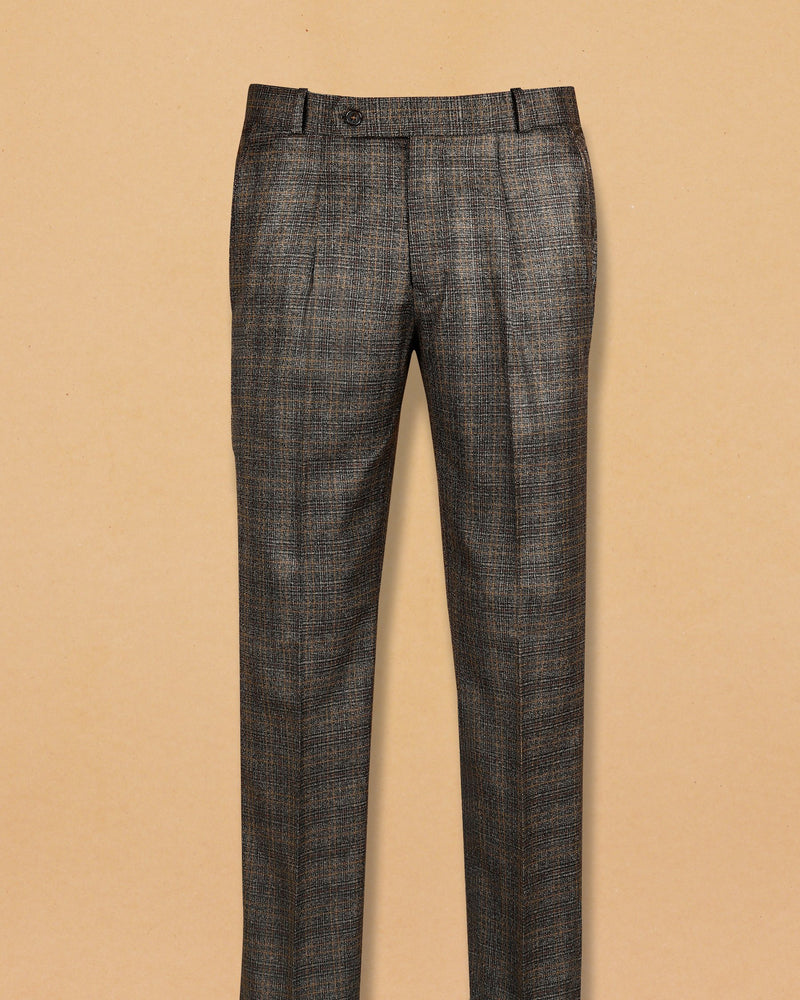 Camel Brown Subtle Checked Terry Rayon Formal Pant