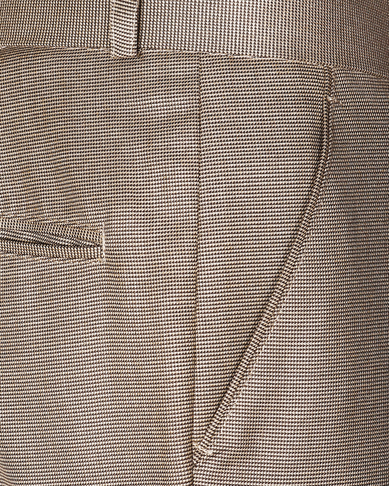 Beige Pinpoint textured Regular fit Terry Rayon Trouser