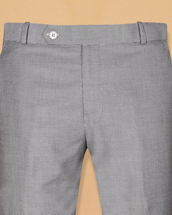 Grey Pinpoint textured Terry Rayon Trouser