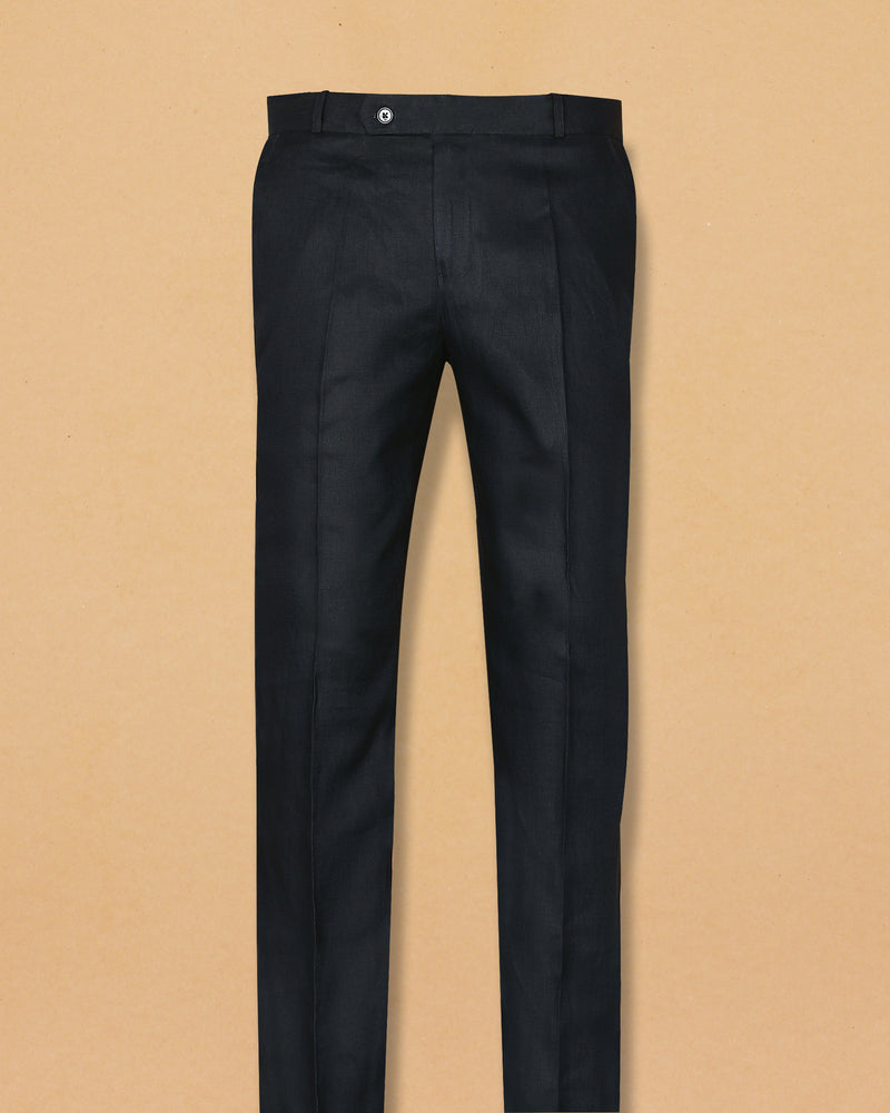 Navy Linen Performance Trouser