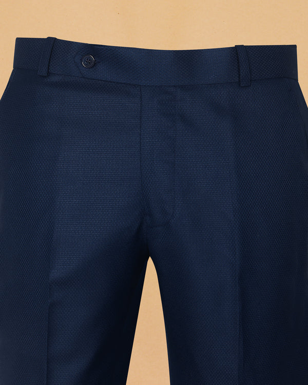 Royal Blue Diamond Textured Trouser
