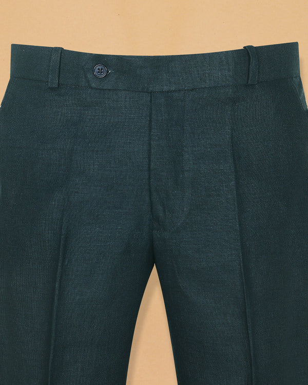 Emerald Green Linen Performance Trouser