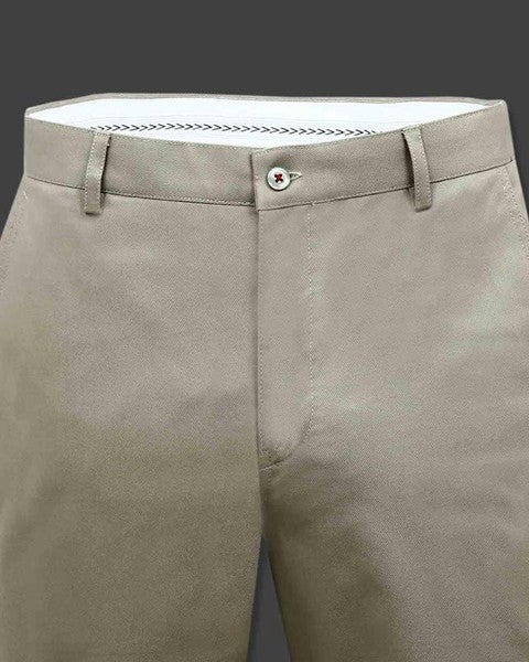 Sand Cream regular fit Cotton Trouser