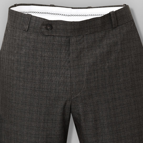 Wood brown Checked Flat-front Formal Pant
