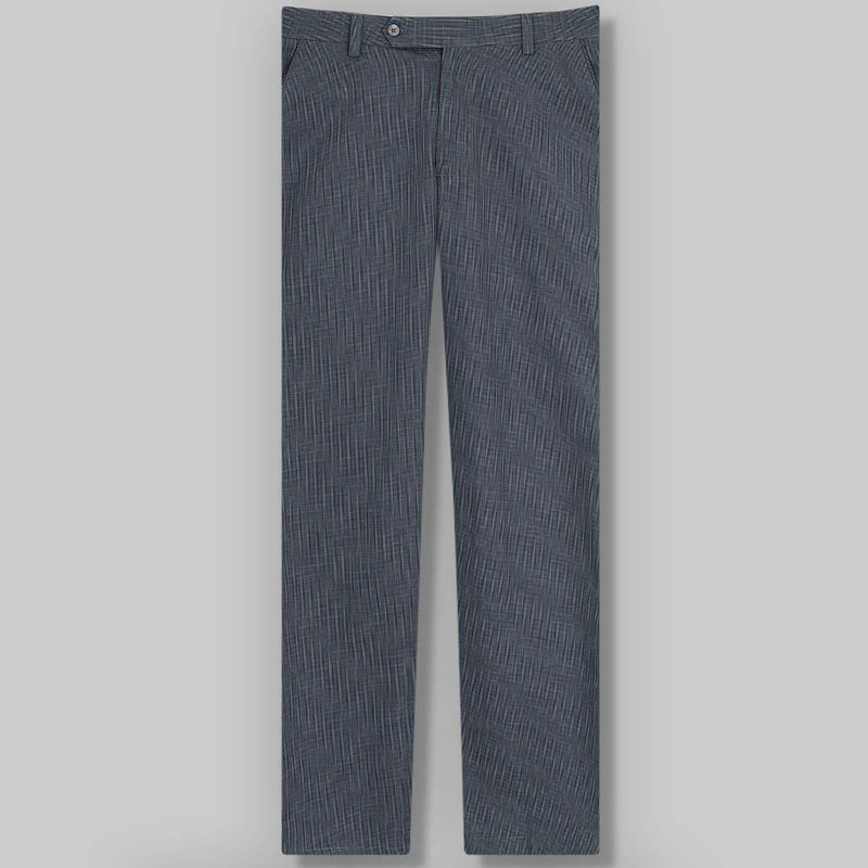 Navy Blue Checked regular fit Cotton Trouser