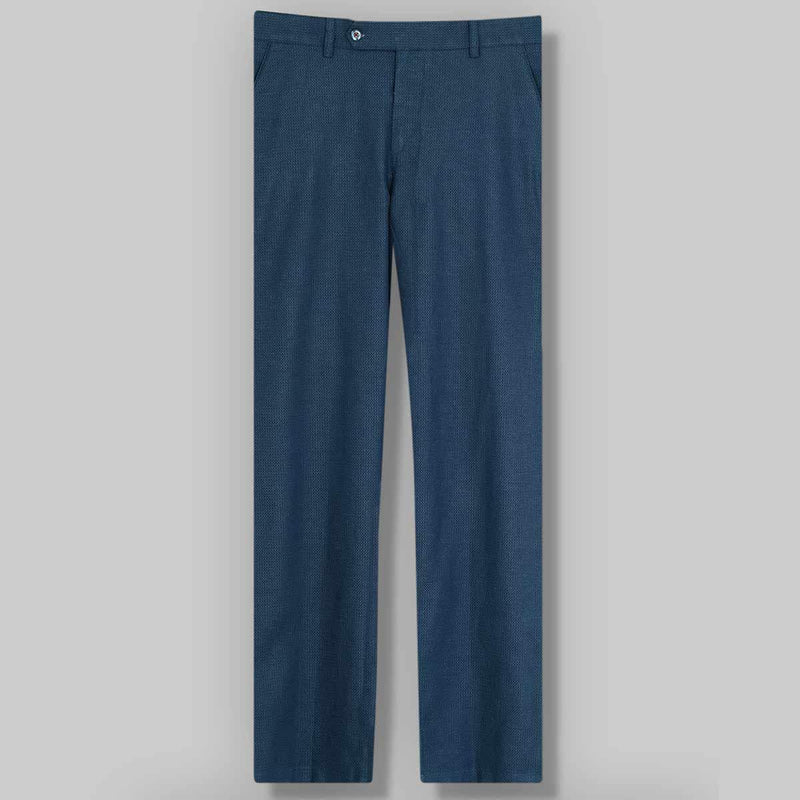 Mid night Blue Textured  Linen-cotton Loose Trouser