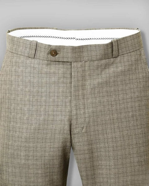 Beige Checked Flat front Formal Pant