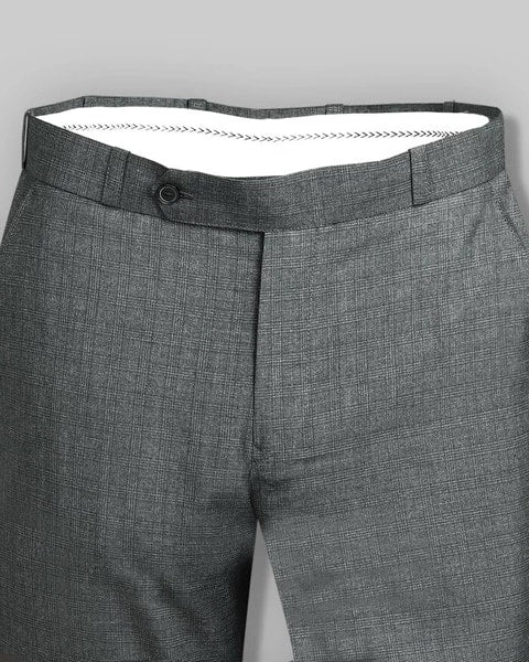 Rhino Grey Checked Flat-front Formal Pant