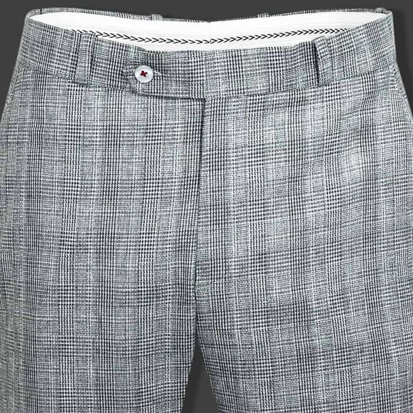 Light Grey Checked Flat-front Formal Pant