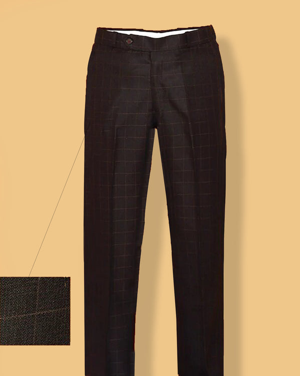 Maroon with Khaki Checked Regular fit Tere-Rayon Formal Pant