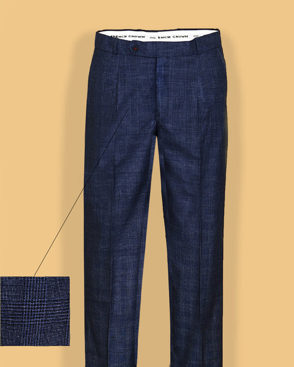 Space blue Checked Pleated Formal Pant