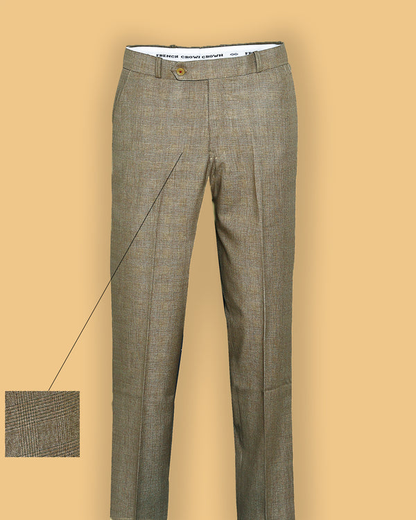 Peanut Brown Checked Flat-front Formal Pant