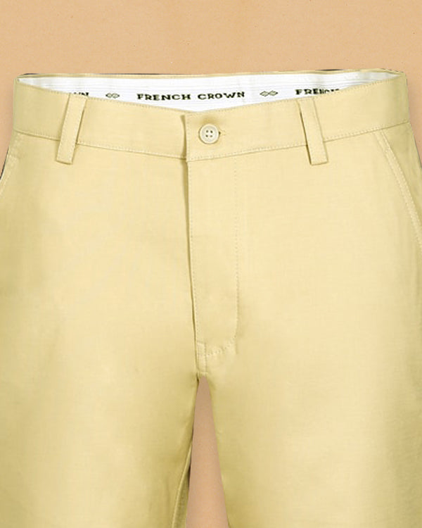 Wheat Cream Regular fit Stretchable Cotton Trouser