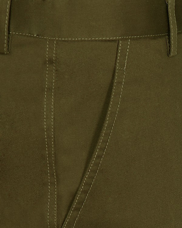 Umber Brown Regular fit Stretchable Cotton  Trouser