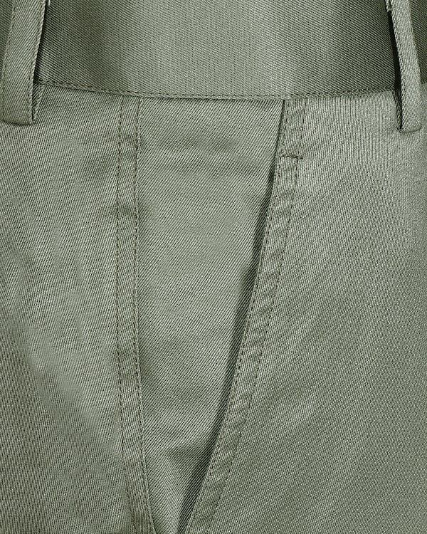Pastel Green Regular fit Cotton Trouser