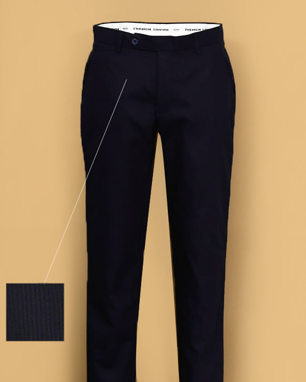 Black Stripe Textured Regular fit Cotton Trouser