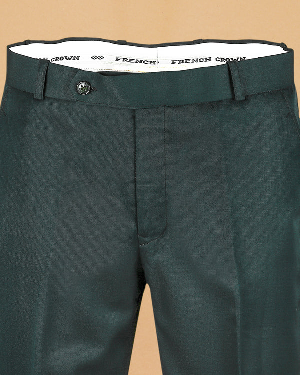 Hunter Green Regular fit Terry Rayon Formal Pant