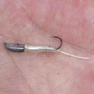 "JH-85 jig head with 1.3"" pearl Pin Worm."