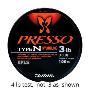 "Daiwa Presso Type N 3lb spool. Image contains text that reads ""4 lb test, not 3 as shown."""