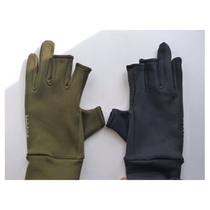 Little Presents Fishing Gloves, showing olive and black gloves.