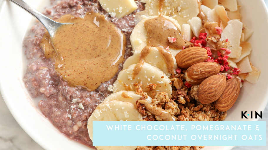 White Chocolate, Pomegranate & Coconut Overnight Oats - KIN Nutrition