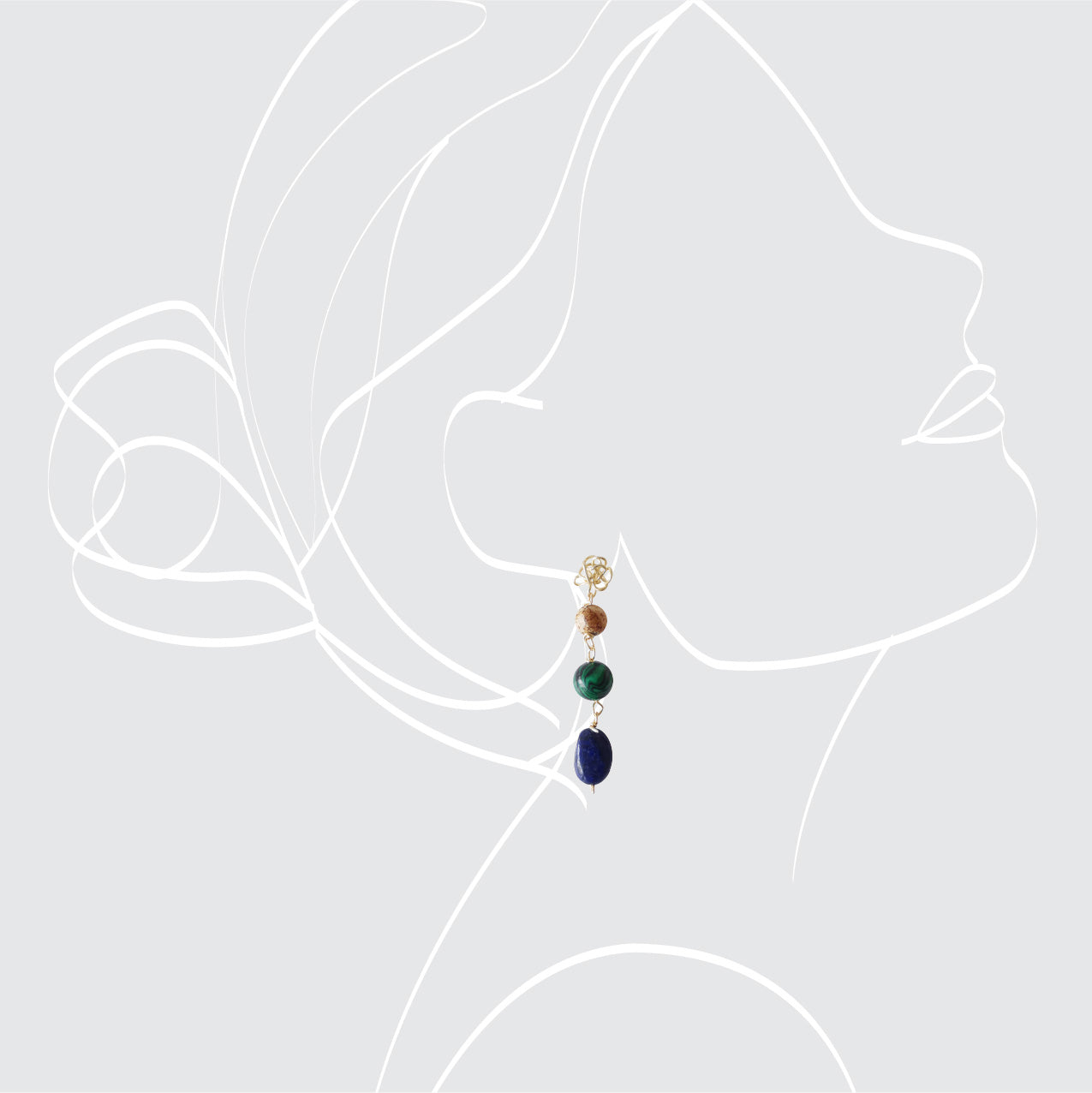 Lapislázuli and Malachite Long Earrings